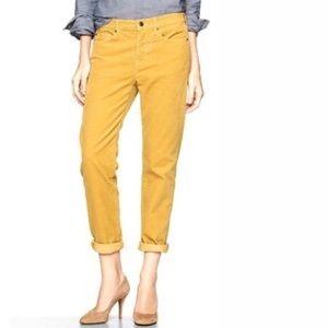 Gap Sexy Boyfriend mustard corduroy pants